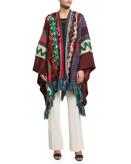 Etro Multi-Print Open-Front Poncho, Multi Colors