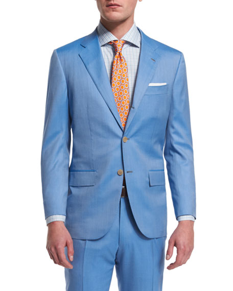 KitonTwo-Piece Herringbone 170s Wool Suit, Light Blue