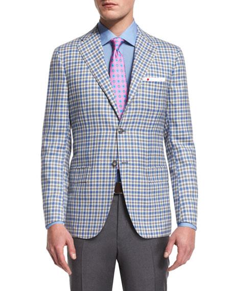 Kiton Check Two-Button Cashmere Sport Coat, Blue/White