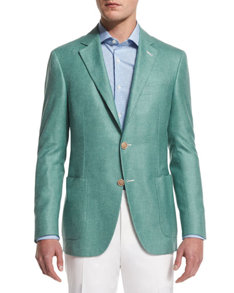 Canali Solid Wool-Blend Two-Button Blazer, Light Green