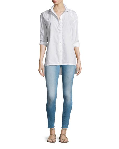 FRAME DENIM Le Oversized Button-Front Blouse, Blanc
