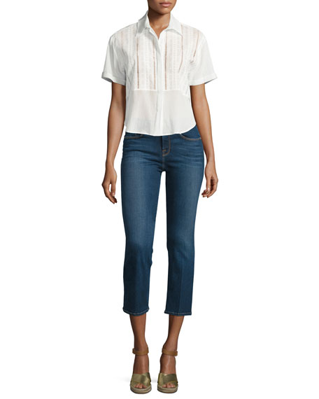 FRAME DENIMCropped Button-Front Boxy Top, Blanc