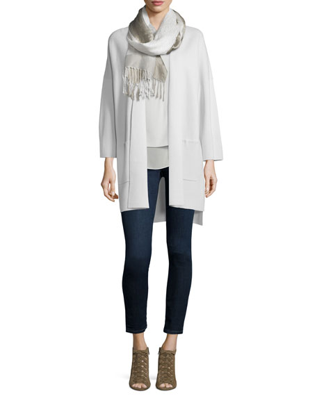 Eileen Fisher Kimono Silk Cotton Interlock Jacket, Bone