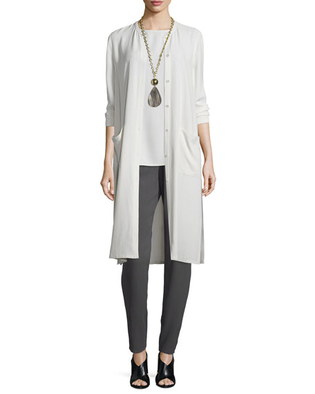 Eileen FisherLong Button-Front Silk Duster Coat