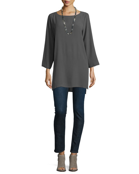 Eileen Fisher Long-Sleeve Ballet-Neck Tunic