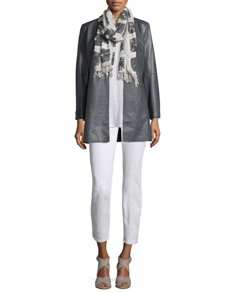 Eileen Fisher Fisher Project Draped Lightweight Leather Jacket,