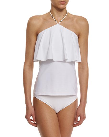 MICHAEL Michael Kors Cascading-Front Tankini Swim Top, White