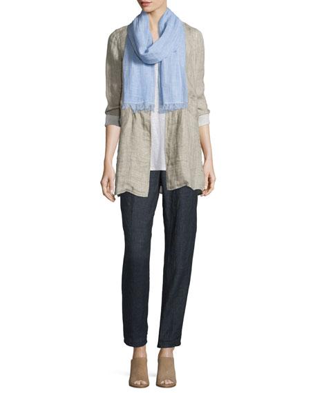 Eileen Fisher Organic Linen One-Button Coat, Natural, Petite