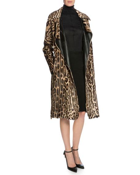 TOM FORDLeopard-Print Belted Long Fur Coat, Dark Brown/Beige