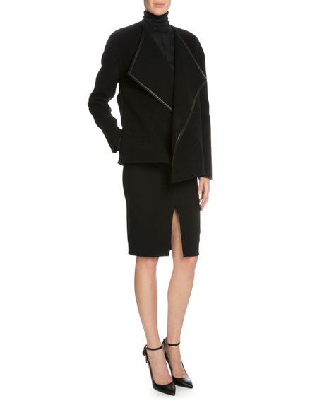 TOM FORD Leather-Trim Cashmere Wrap Jacket, Black
