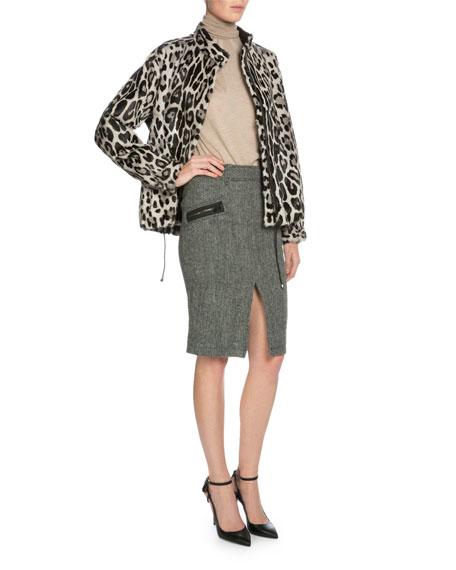 TOM FORD Leopard-Print Fur Jacket, Gray/Black