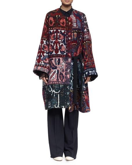 Chloe Long-Sleeve Blanket Coat, Multi Colors