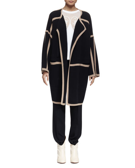 Chloe Long-Sleeve Two-Tone Sweater Coat, Black