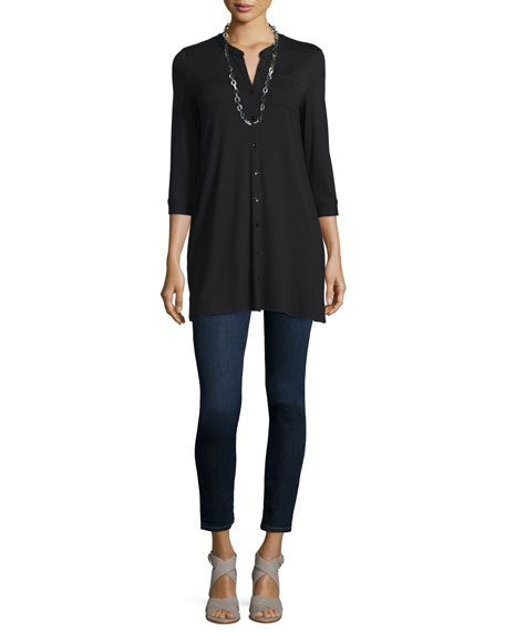 Eileen Fisher 3/4-Sleeve Jersey Button-Front Tunic, Plus Size