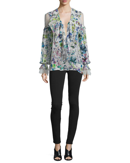 Roberto Cavalli Lace-Inset Floral-Print Blouse, White/Multi