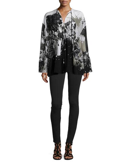 Roberto Cavalli Long-Sleeve Floral-Print Caftan, Black/White
