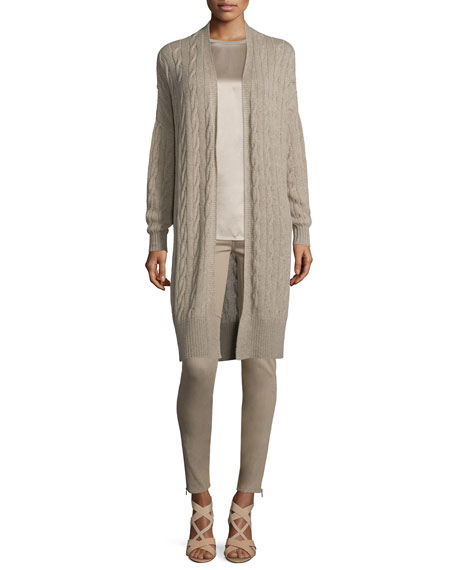 Ralph Lauren Collection Cable-Knit Cashmere Long Cardigan, Taupe