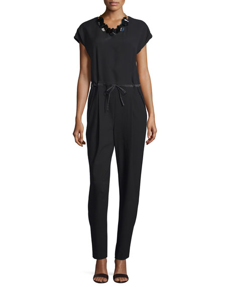 Lafayette 148 New York Columbia Drawstring-Waist Jumpsuit, Black,