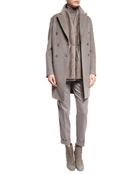 Loro Piana Barret Double-Breasted Cashmere Coat, Silver Myrtle