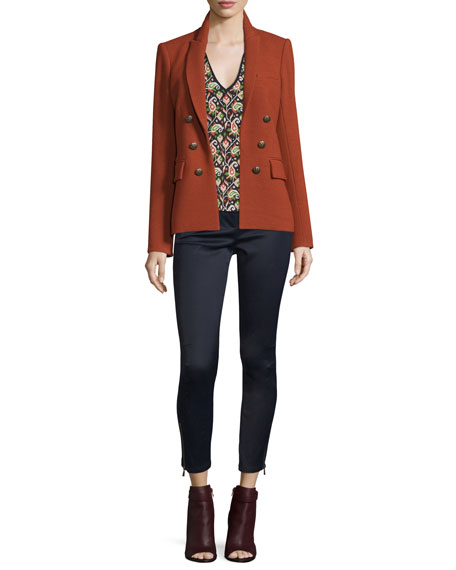 Veronica Beard Peninsula Pique Jacket, Brick