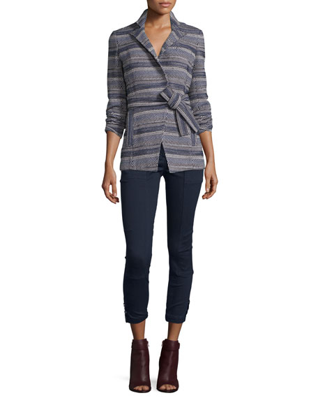Veronica Beard Pamona Surplice Tweed Jacket, Ivory/Navy