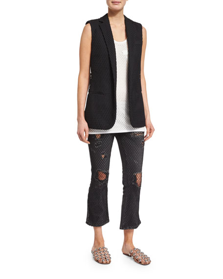 Alexander Wang Net-Overlay Notched-Collar Vest, Pitch