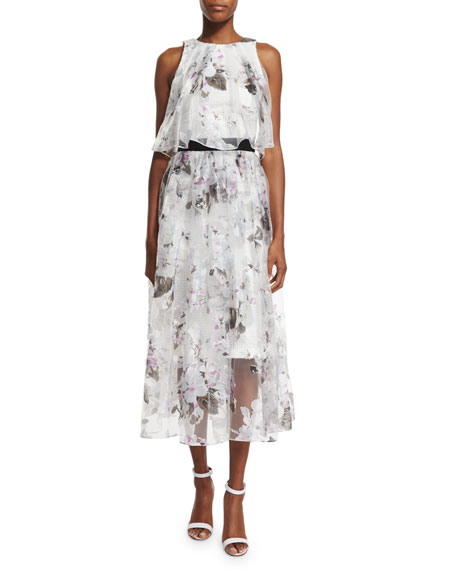 Sachin & Babi NoirFloral-Print A-line Midi Skirt