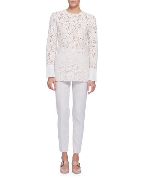 Lanvin Long-Sleeve Lace Blouse, Ivory