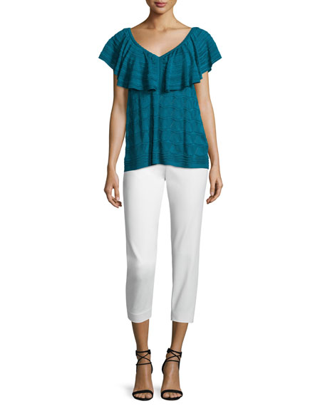 M Missoni Flutter-Sleeve V-Neck Top, Teal