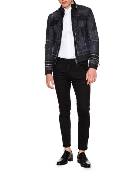 Dsquared2 Zipper-Trim Stretch Denim Jacket, Black