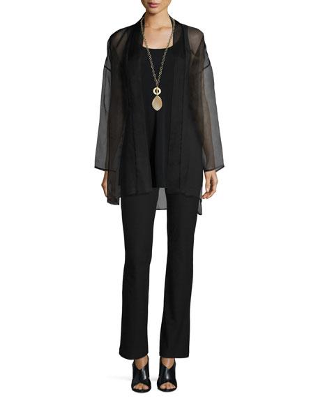 Eileen Fisher Long Washed Silk Organza Jacket, Plus