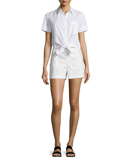 Theory Hekanina Pearce Tie-Front Short-Sleeve Top