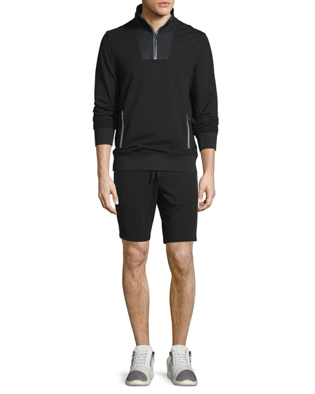 MICHAEL KORSMesh-Trim Half-Zip Pullover Sweater, Black