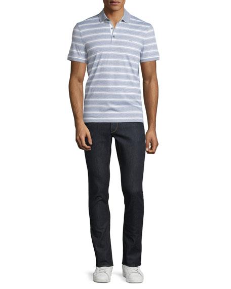 MICHAEL KORSBold Bar-Striped Short-Sleeve Polo Shirt, Heather