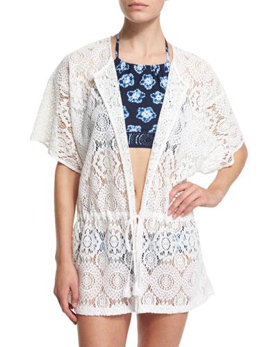 La Vie Boheme Crocheted Drawstring Tunic Coverup, Kanoko Printed Halter Swim Top & Lace-Up Swim Bottom