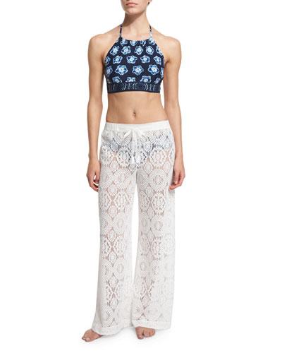 Kanoko Printed Halter Swim Top, Lace-Up Swim Bottom & La Vie Boheme Crocheted Coverup Pants