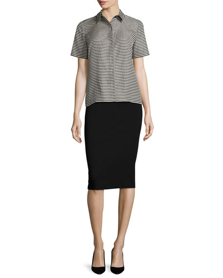 Lafayette 148 New York Maisie Striped Short-Sleeve Blouse,