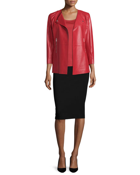 Lafayette 148 New York Dayle Open-Front Leather Jacket,