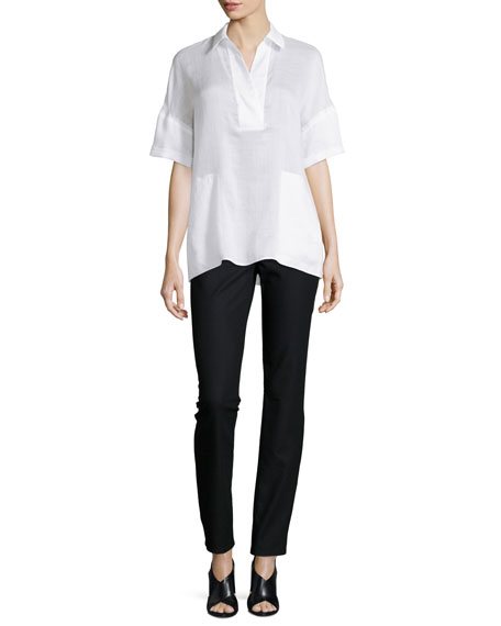 Lafayette 148 New York Mitra Half-Sleeve Blouse, White