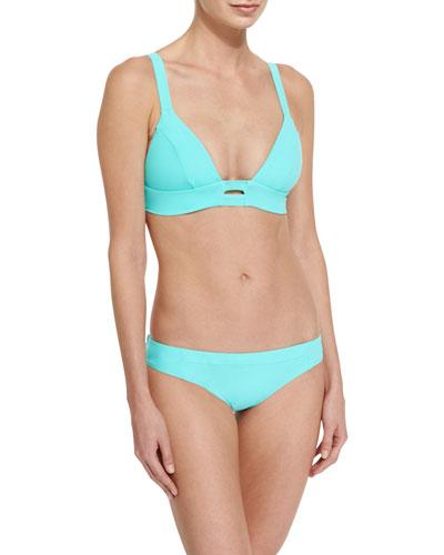 Neutra Solid Strappy-Back Swim Top & Adriana Hipster Bikini Swim Bottom