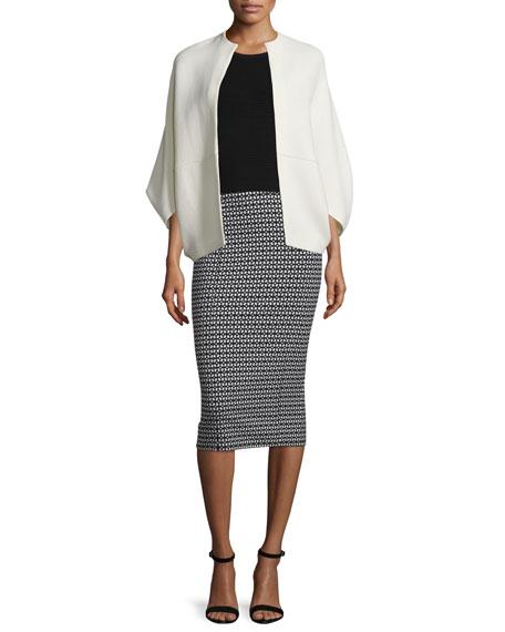 Lela Rose Open-Front Cape-Style Jacket, Ivory