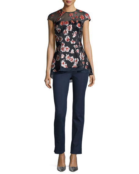 Lela RoseCap-Sleeve Raised-Floral Peplum Blouse, Cranberry