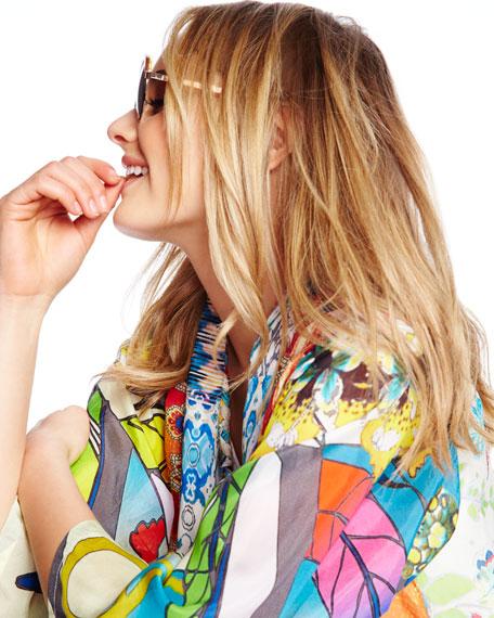 Mix-Print Kimono Jacket