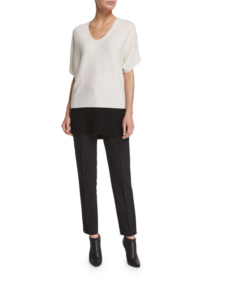 Escada Short-Sleeve Paillette Colorblock Pullover, Open Off