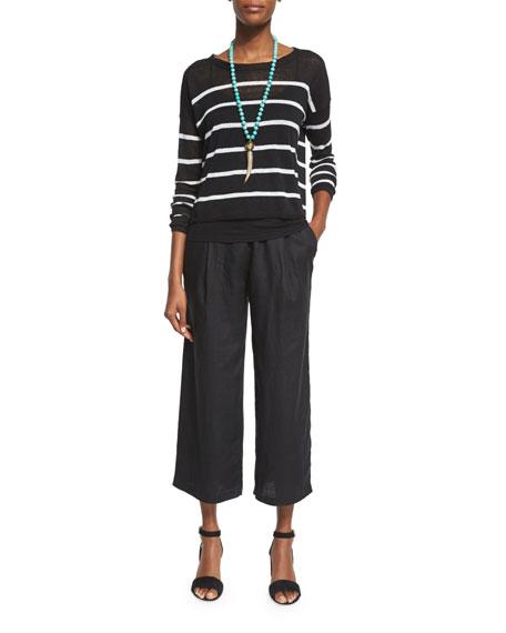 Eileen Fisher Long-Sleeve Striped Linen Crop Top, Black/White