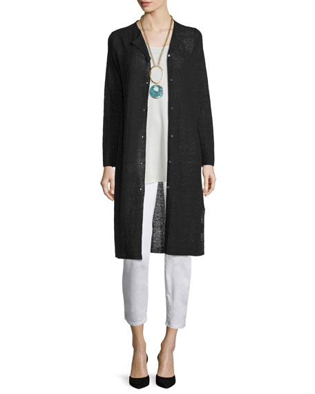 Eileen Fisher Long Organic Linen Cardigan, Black