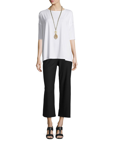 Eileen Fisher 3/4-Sleeve Boxy Lightweight Jersey Tunic
