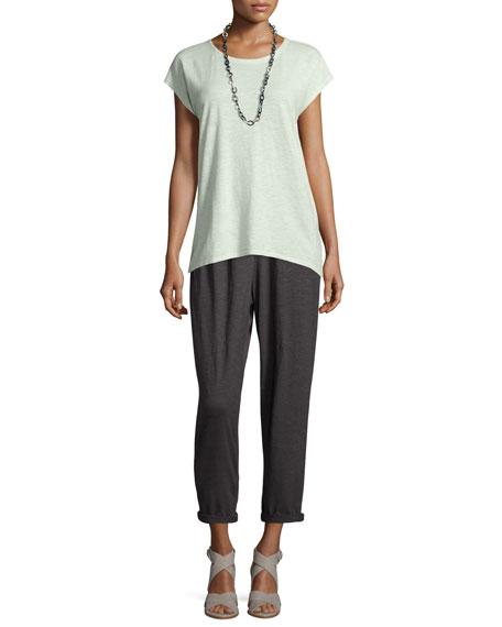 Eileen Fisher Long Cap-Sleeve Hemp Twist Top