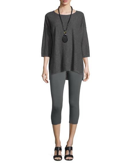 Eileen Fisher Slub Reverse Linen/Cotton Tunic