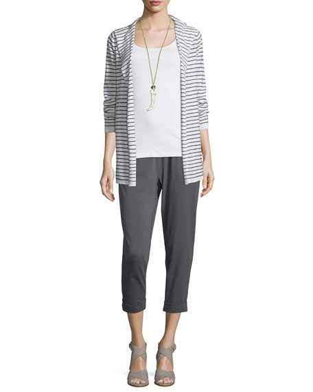 Eileen Fisher Organic Slub Striped Hooded Cardigan